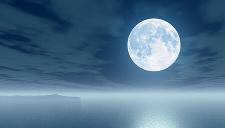 Moon over the sea  3d illustration