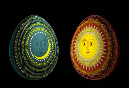 Eggs with solar and lunar ornaments isolated on black. 3d illustration