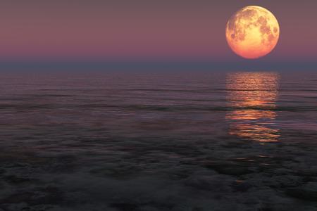 海の上の赤い月