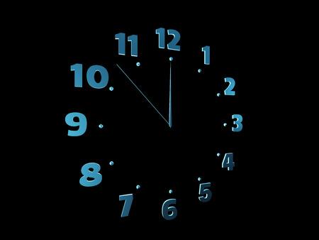 Blue clock isolated on black Stock Photo