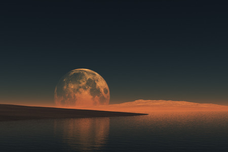 The Moon over the sea and hills Stock Photo