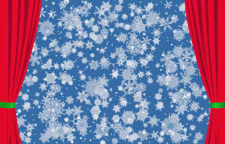 Snowflakes on blue background and red curtains