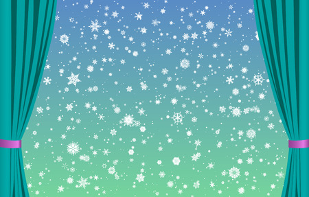 Snowflakes on blue-green background with curtains
