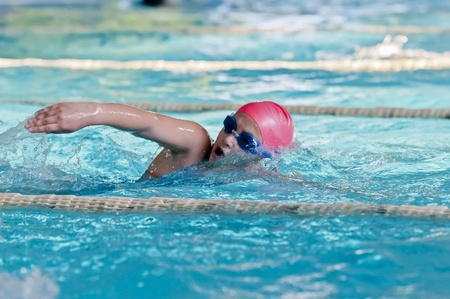sportman: A free style swimmer in swimming pool