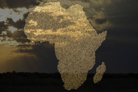 African Map with beans Stock Photo