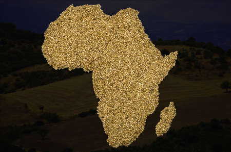 African Map with beans photo