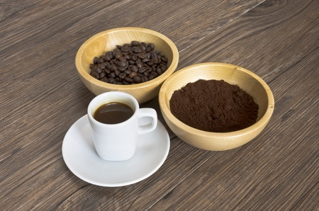 Coffee beans and coffee cup photo