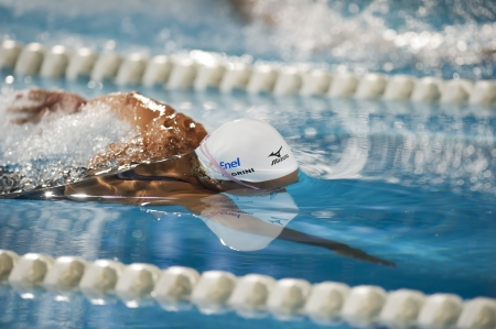 MILAN, ITALY - JUNE 30: Federica Pellegrini in Aspria Swimming Cup, Night Event on June 30, 2011 in Milan (Italy)