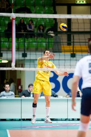 reggio emilia: MONZA, ITALY - NOVEMBER, 25  Luppi   yellow , 1   in Vero Volley  Monza   white   vs Conad Reggio Emilia    Yellow  -Italian Volley A2 League on 2012 Novermber, 25 in Monza  Italy