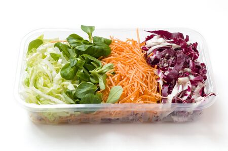 Some kinds of salads food packed