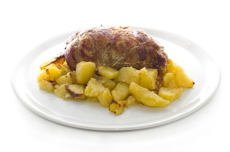 rolled veal stuffed with potatoes in white plate Stock Photo - 16832958