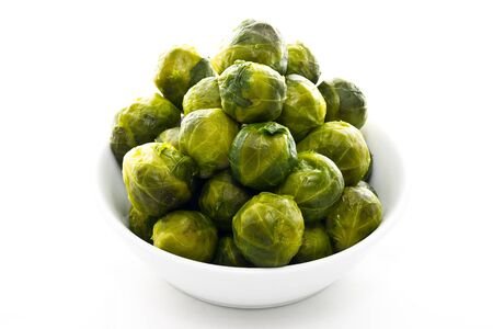 Brussels Sprouts  isolated in white plate