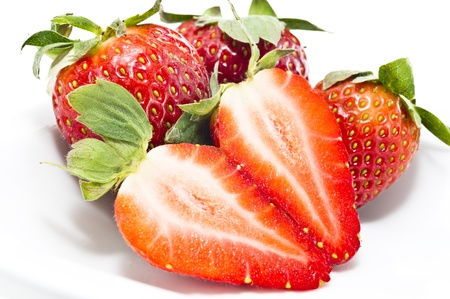 Strawberries isolated in white plate Stock Photo - 17352096
