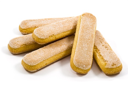 Italian savoiardi cookies over white, ladyfingers  Stock Photo