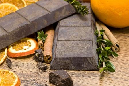 orange raw  chocolate on wooden table Stock Photo
