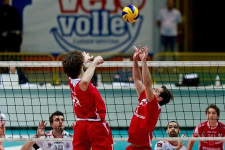 MILAN, ITALY - FEBRUARY, 3 Beretta and Tiberti   Monza  in A2M   Vero Volley Monza - Gherardi SVI   on february , 2013 in Milan, Italy Stock Photo - 17776627