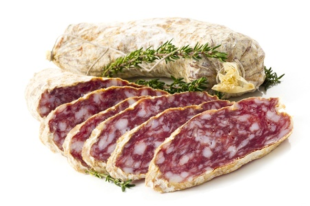 salame: Slices of Salame from Italy on white background