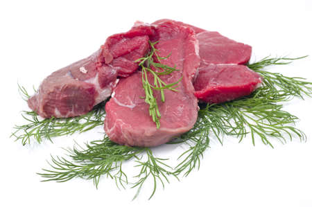fresh and raw beef steak in white background