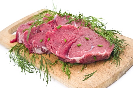 Raw beef with  green chinese onion in white background photo