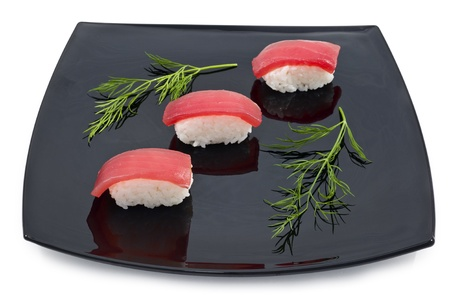 japan sushi in black plate on white background photo