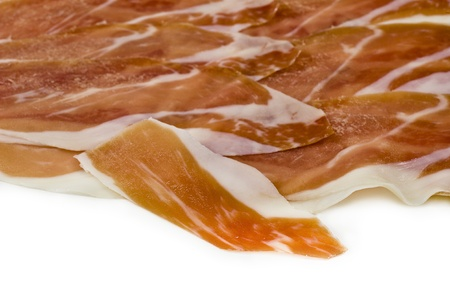 prosciutto crudo ham in white background photo