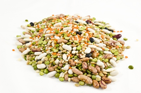 mixed legumes and cereals in white background
