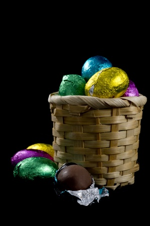 coated: Pastel candy coated Easter chocolates in black background