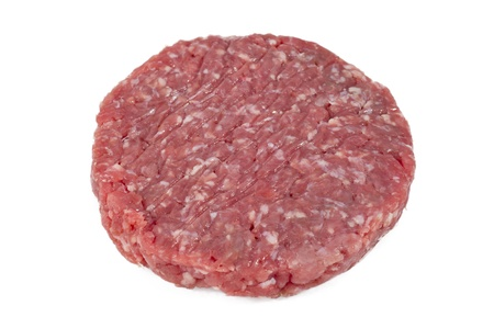delicious raw round hamburger in white background