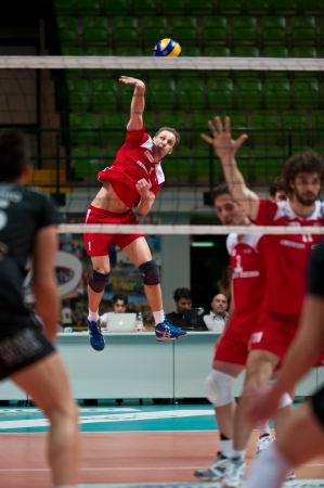 MILAN, ITALY - APRIL, 4  Hrazdira   Red Monza   jumping  in A2M PLAY - OFF Vero Volley Monza -  Corigliano on April ,4 2013 in Milan, Italy