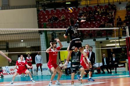 MILAN, ITALY - APRIL, 4 Bortolozzo   Black Corigliano   in A2M PLAY - OFF Vero Volley Monza -  Corigliano on April ,4 2013 in Milan, Italyr Editorial