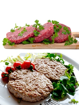 raw burgers in white background