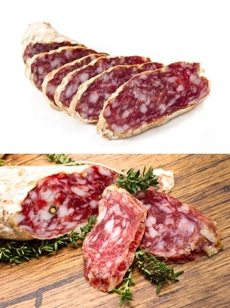 salame: italian ham called salame collage
