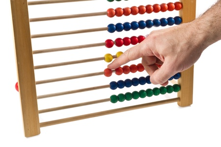 colorated abacus and hand over white background photo
