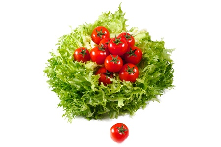 lettuces: fresh lettuces salad with fresh  tomatoes isolated on white background
