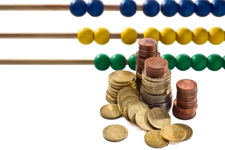 Abacus beads with euro, european money photo