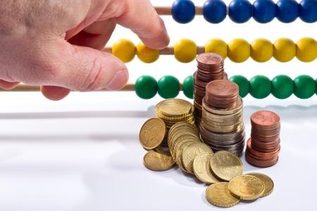 Abacus beads with euro, european money photo