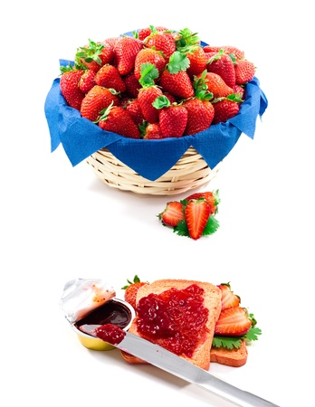 a strawberries basket with a knife and jam packged on whote bakground photo