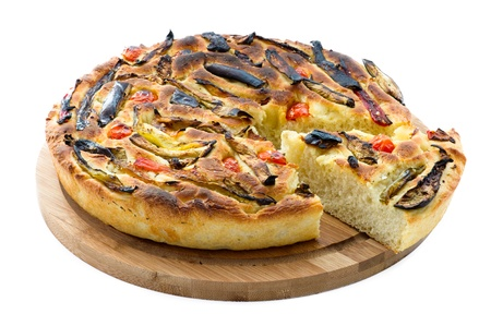 woodfired: italian focaccia with vegetables isolated on wooden board