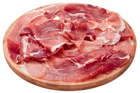 delicious sliced ham on wooden board isolated on white background Stock Photo