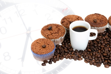 Coffee Muffins with a cup of coffee with clock photo