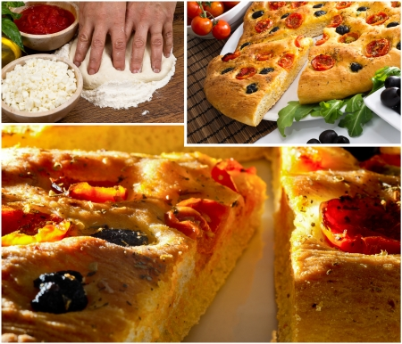 Apulian  italian  focaccia  with black olives and cherry tomatoes photo