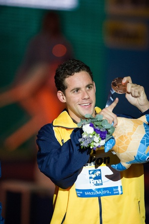 medley: BARCELONA – AUGUST  1   Thiago Pereira   Brazil      in victory cerimonyduring Barcelona FINA World Swimming Championships on August 1, 2013 in Barcelona, Spain Editorial