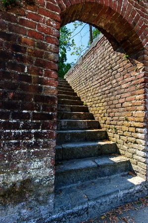 old ruins of  rustic stairs building in Italy photo