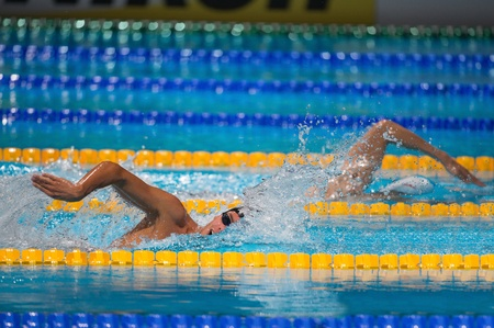 BARCELONA - AUGUST  3  Gregorio Paltrinieri   Italy  and Sun Yang   China   in  Barcelona FINA World Swimming Championships on August 3, 2013 in Barcelona, Spain