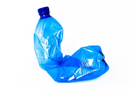 Blue Plastic bottle isolated on white background photo