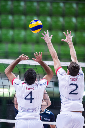 MILAN, ITALY – NOVEMBER, 3:      N. Bruno  ( 4) and  M. Simoni (2) in Vero Volley  Monza – Sieco Service Ortona  ( Italian Volley League A2) on November 3 , 2013 in Milan , Italy