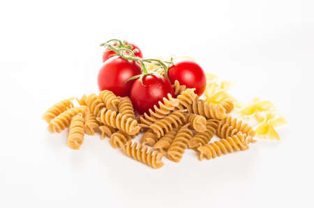 mixed italian pasta and spaghetti  in white background photo