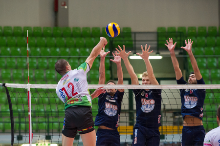 MILAN, ITALY –DECEMBER, 1:    M. Casarin (Globo BP)   in Vero Volley  Monza – Globo BP Frosinate Sora  ( Italian Volley League A2) on December, 1 , 2013 in Milan , Italy