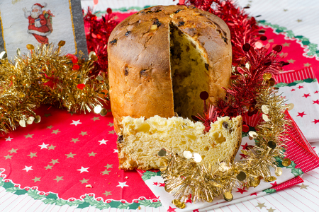 christmas italian cake called panettone on traditional dinner table with decorations stock photo 24909144 - Italian Christmas Table Decorations