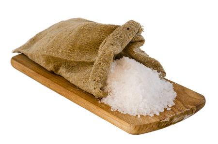 Sea Salt on white background Stock Photo